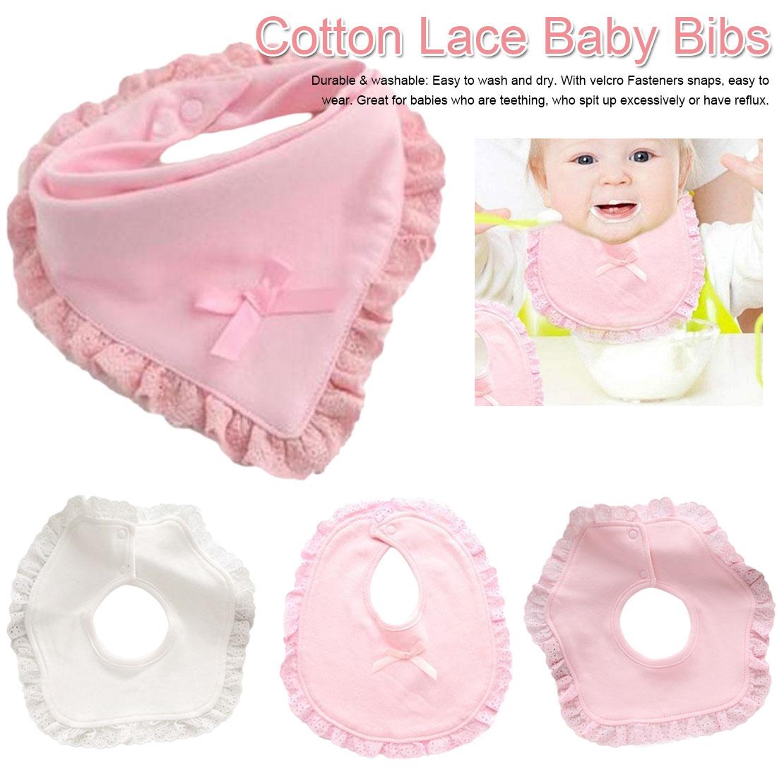 Newborn Baby Girls Bib Cotton Saliva Towel Lace Princess Waterproof Cloth Bibs