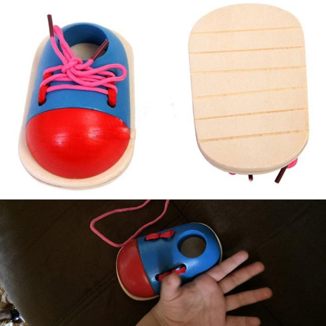 Kids DIY Learning Education Fashion Toddler Lacing Shoes Kid