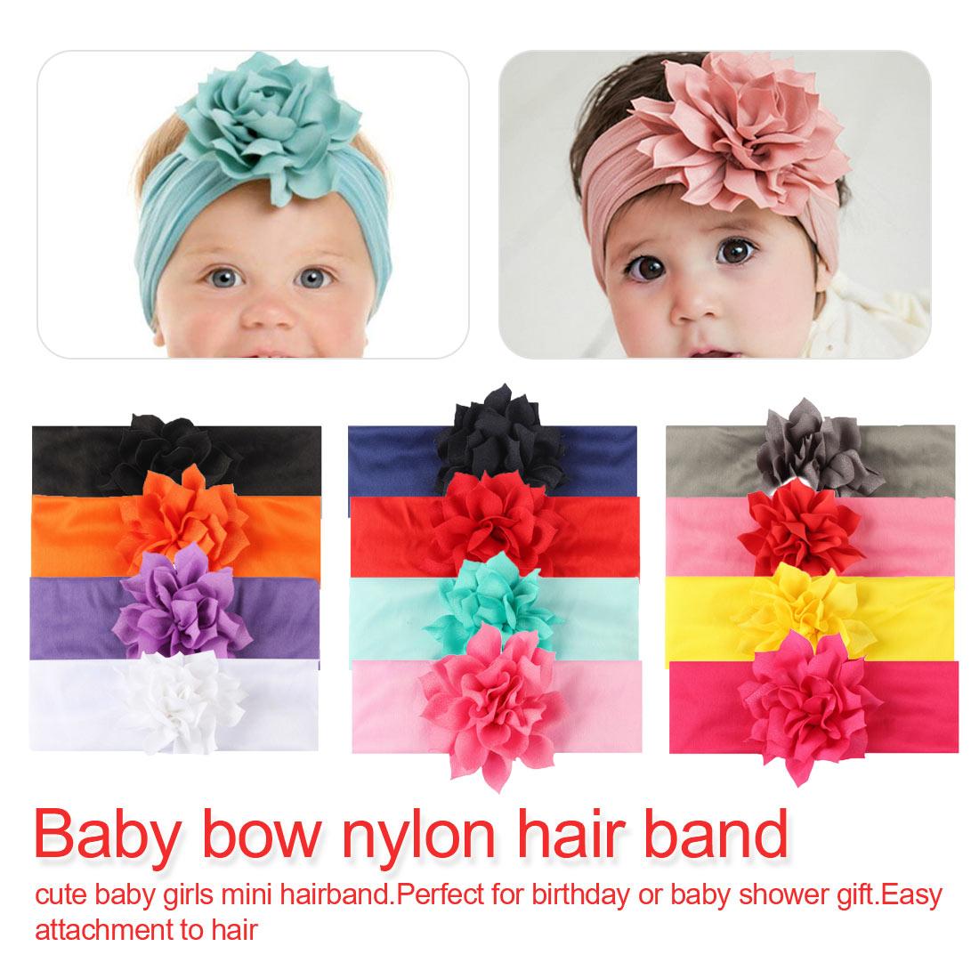 Baby-Bow-Nylon-Headband-Soft-Stretch-Flower-Nylon-Headband-Children-039-s-Headband thumbnail 3